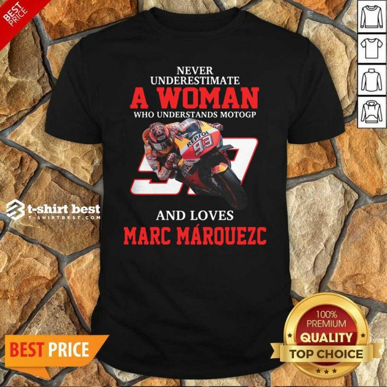 Never Underestimate A Woman Who Understand Motogp And Love Marc Marquez Shirt - Design By 1tees.com