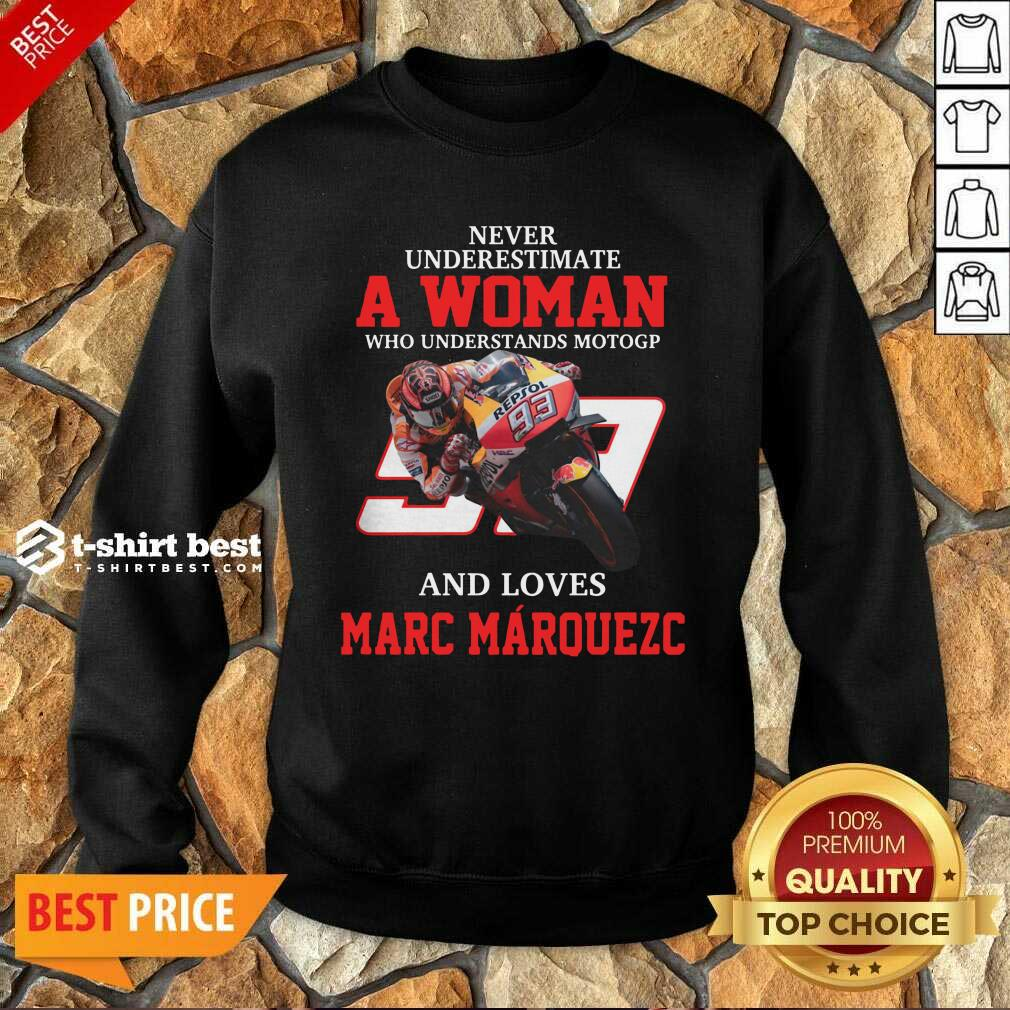 Never Underestimate A Woman Who Understand Motogp And Love Marc Marquez Sweatshirt - Design By 1tees.com