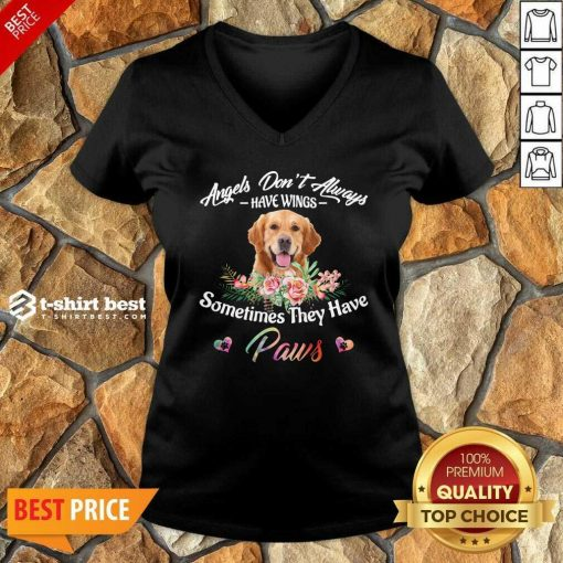 Angels Don't Always Have Wings Golden Retriever Sometimes They Have Paws V-neck - Design By 1tees.com