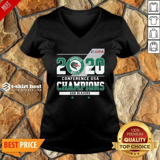 C-USA 2020 Buffalo Bulls Conference USA Champions UAB Blazers V-neck - Design By 1tees.com