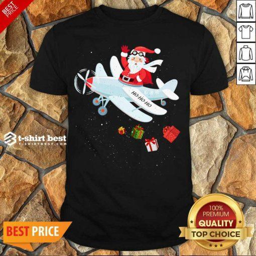 Hot Christmas Santa Claus Pilot Flying Airplane Xmas Gifts Shirt - Design By 1tees.com