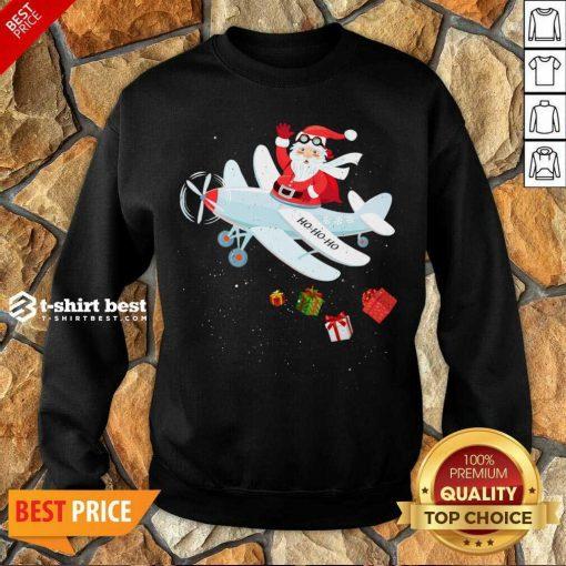 Christmas Santa Claus Pilot Flying Airplane Xmas Gifts Sweatshirt - Design By 1tees.com