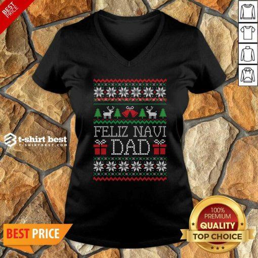Feliz Navidad Ugly Merry Christmas V-neck - Design By 1tees.com