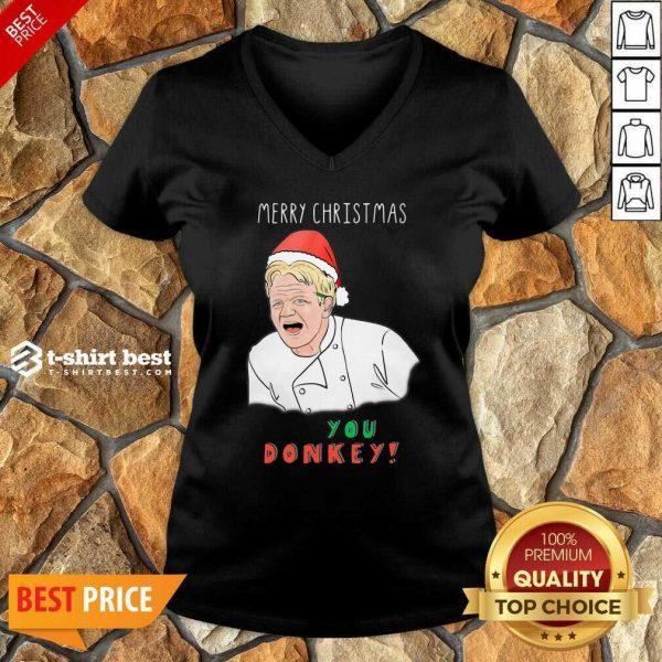 Gordon Ramsay Merry Christmas You Donkey V-neck - Design By 1tees.com