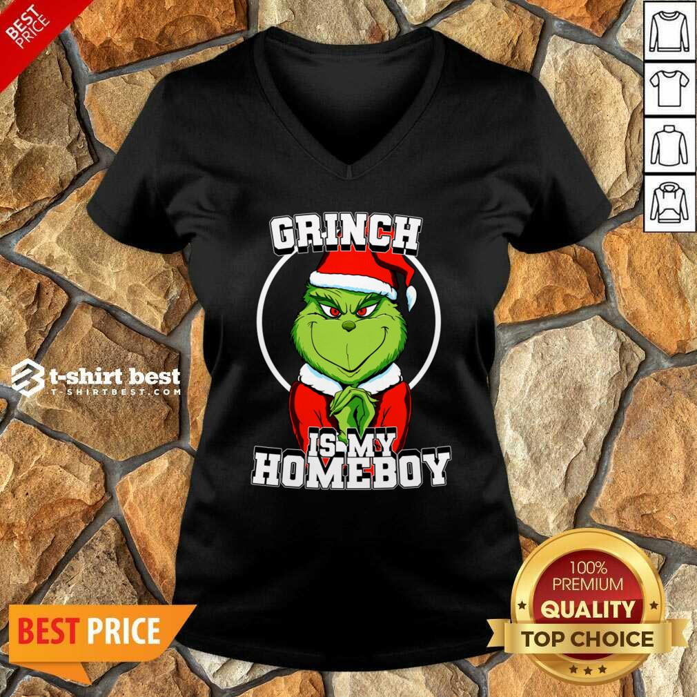 Grinch Is My Homeboy Merry Christmas V-neck - Design By 1tees.com