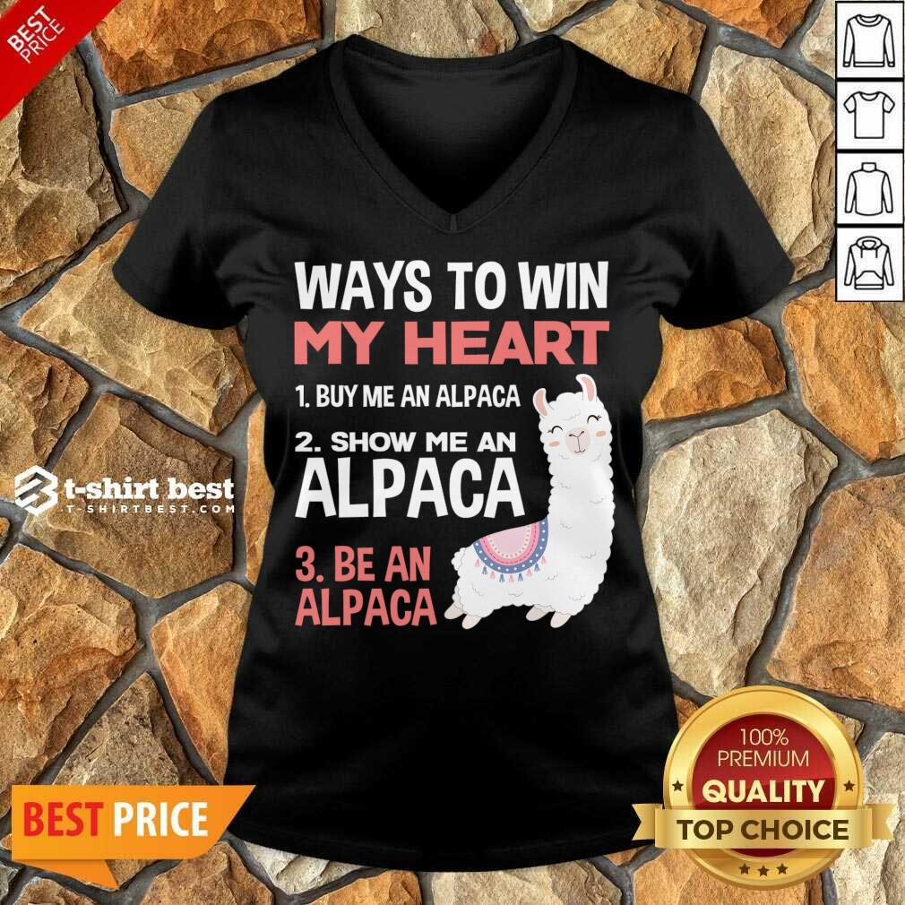 llama Alpaca Heart Love Animals Sweet Children V-neck - Design By 1tees.com