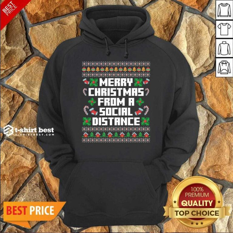 Merry Christmas From A Social Distance Hoodie - Design By 1tees.com