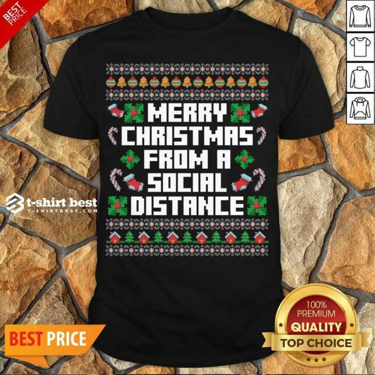 Hot Merry Christmas From A Social Distance Shirt - Design By 1tees.com