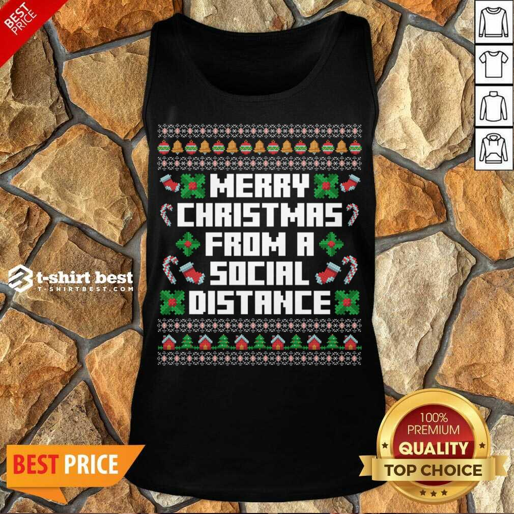 Merry Christmas From A Social Distance Tank Top - Design By 1tees.com