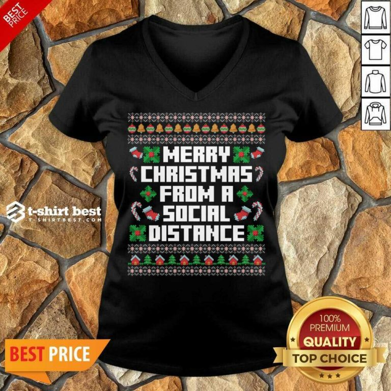 Merry Christmas From A Social Distance V-neck - Design By 1tees.com