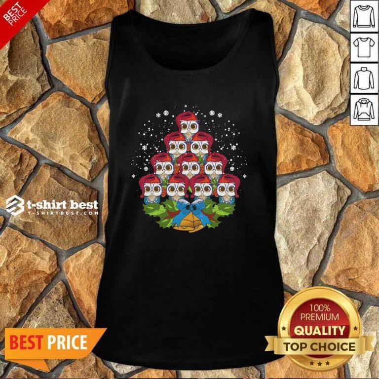 Owls Merry Christmas Tree Animal Tank Top - Design By 1tees.com