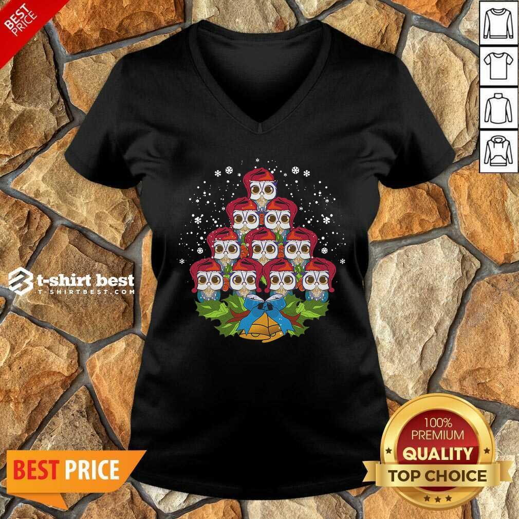 Hot Owls Merry Christmas Tree Animal V-neck - Design By 1tees.com