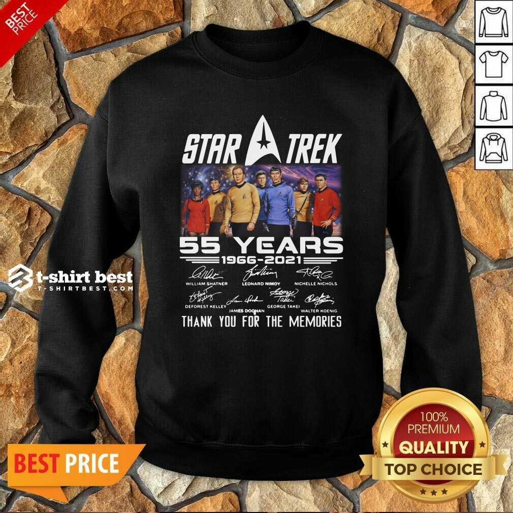 Star Trek 55 Years 1966 2021 Thank You For The Memories Signatures Sweatshirt - Design By 1tees.com