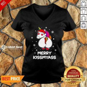 Unicorn Merry Kissmyass Ugly Christmas V-neck - Design By 1tees.com