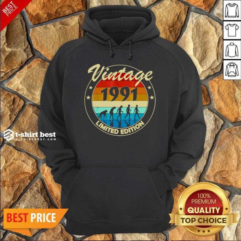 Vintage 1991 Birthday Hoodie - Design By 1tees.com