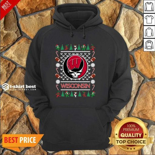 Wisconsin Badgers Grateful Dead Ugly Christmas Hoodie - Design By 1tees.com
