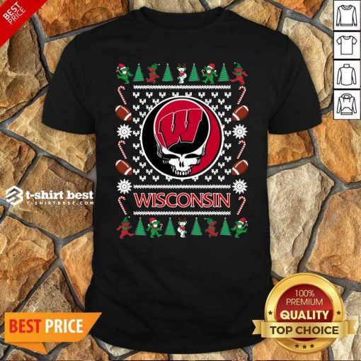 Hot Wisconsin Badgers Grateful Dead Ugly Christmas Shirt - Design By 1tees.com