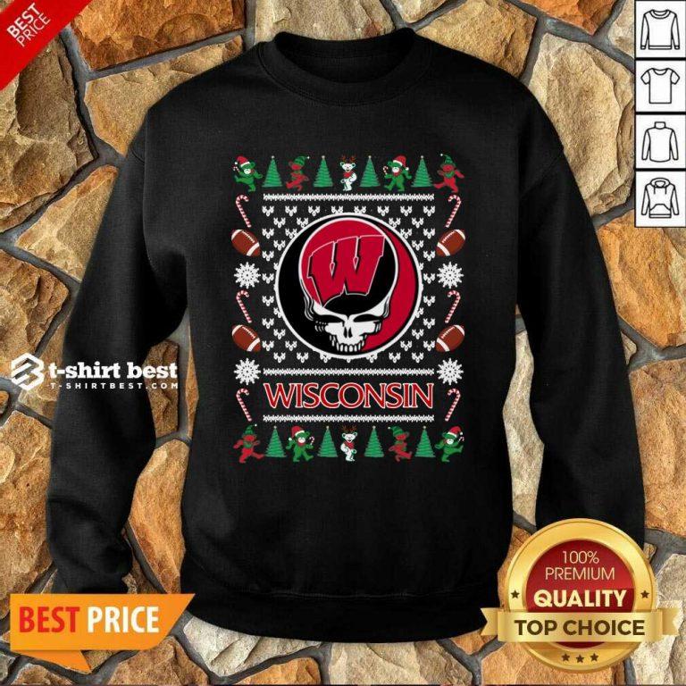 Wisconsin Badgers Grateful Dead Ugly Christmas Sweatshirt - Design By 1tees.com