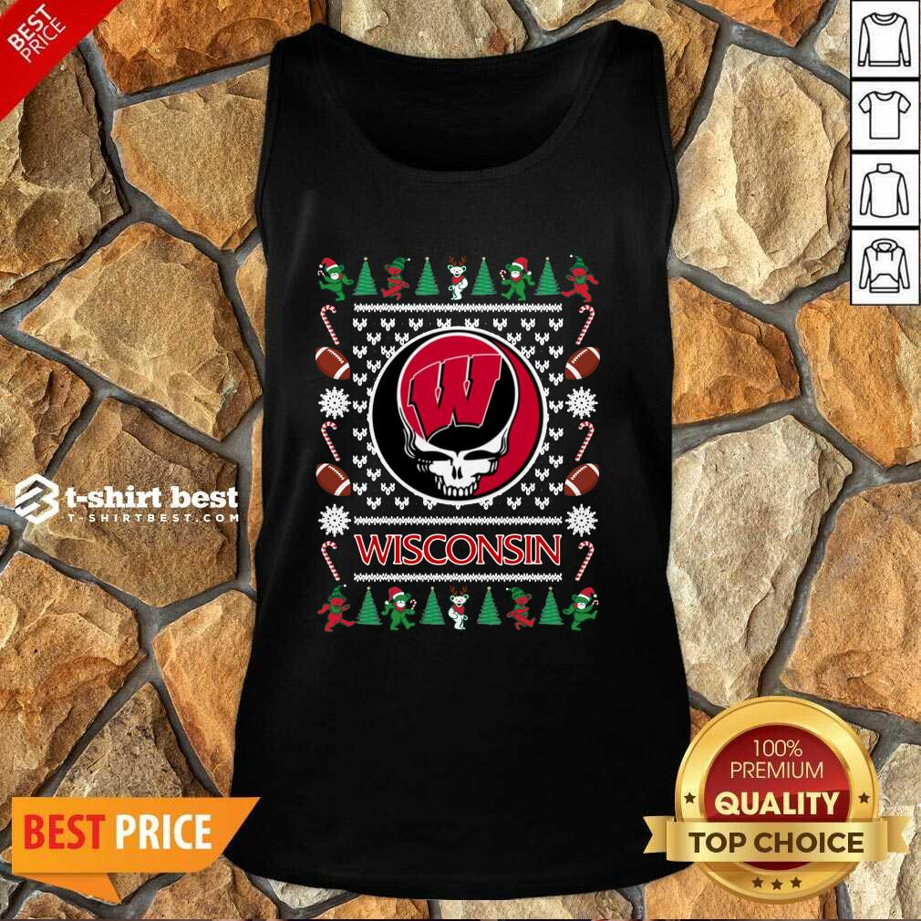 Wisconsin Badgers Grateful Dead Ugly Christmas Tank Top - Design By 1tees.com