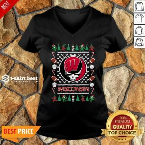 Wisconsin Badgers Grateful Dead Ugly Christmas V-neck - Design By 1tees.com