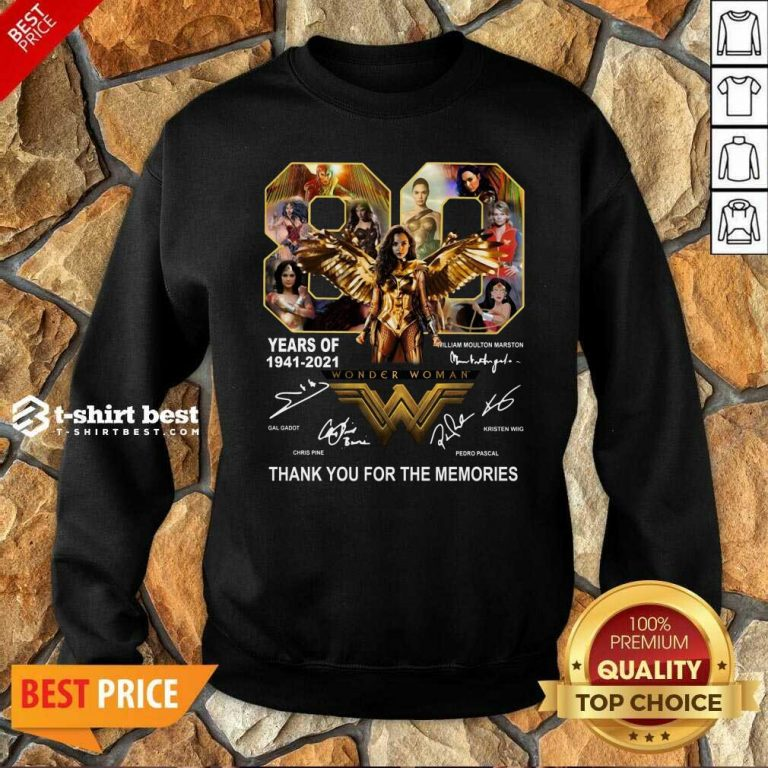 80 Years Of Wonder Woman Thank You For The Memories Sweatshirt - Design By 1tees.com
