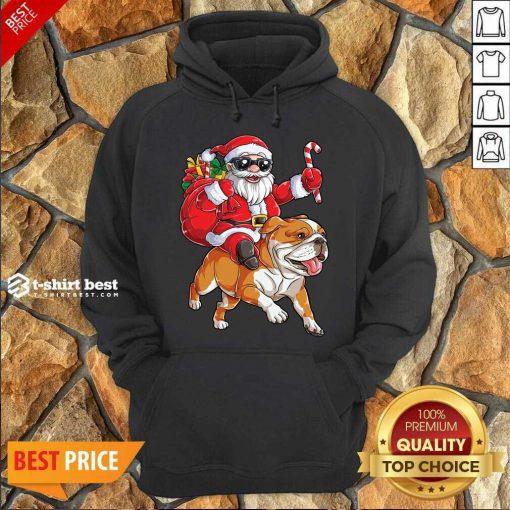 Claus Riding Bulldog Merry Christmas Hoodie - Design By 1tees.com