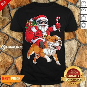 Nice Claus Riding Bulldog Merry Christmas Shirt - Design By 1tees.com