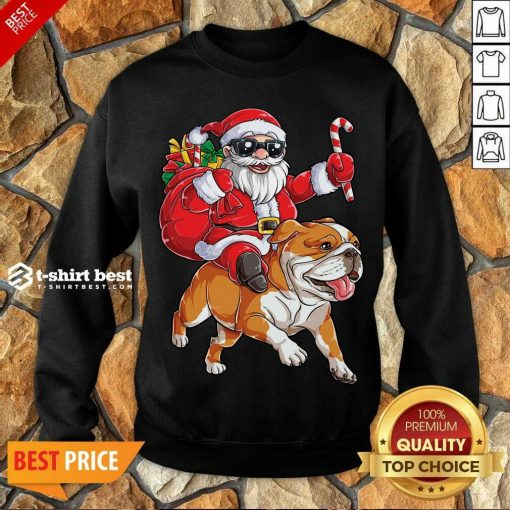 Claus Riding Bulldog Merry Christmas Sweatshirt - Design By 1tees.com