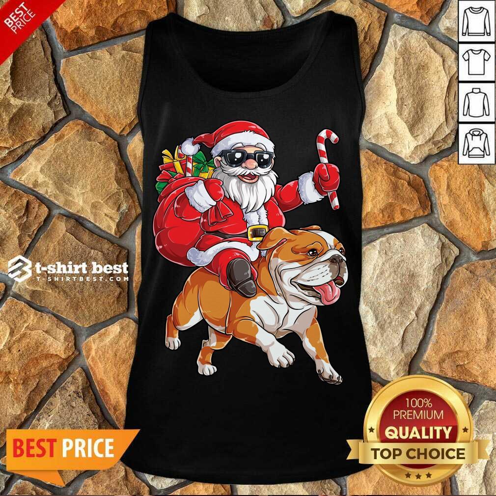 Claus Riding Bulldog Merry Christmas Tank Top - Design By 1tees.com