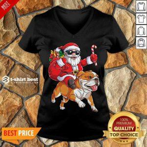 Claus Riding Bulldog Merry Christmas V-neck - Design By 1tees.com