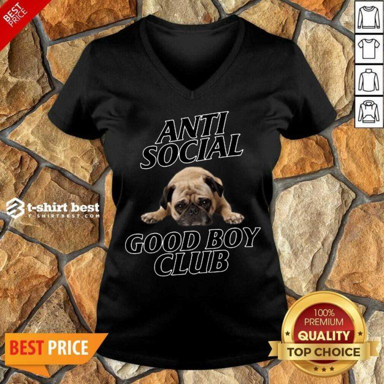 Dog Anti Social Good Boy Club V-neck - Design By 1tees.com