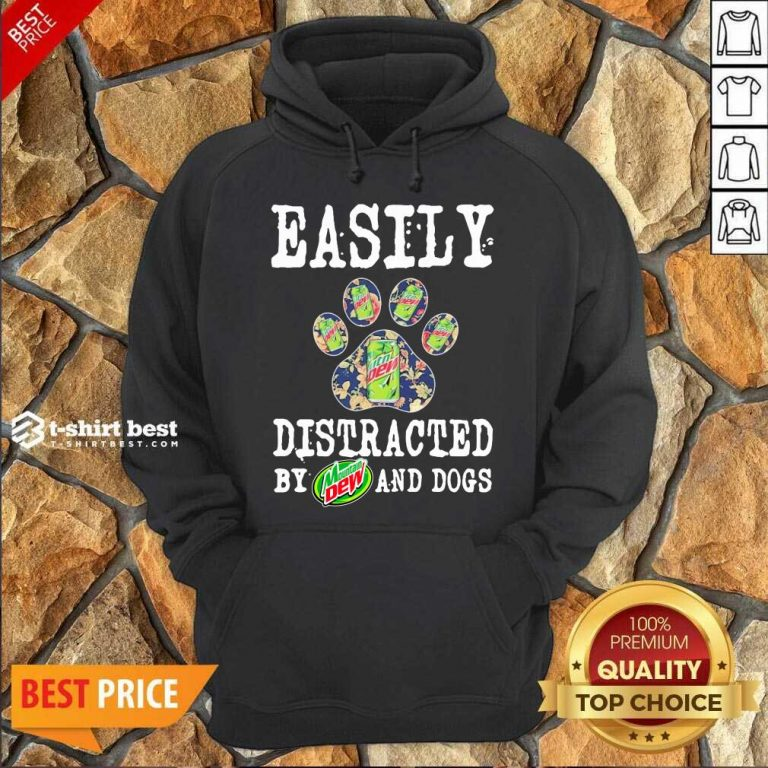 Easily Distracted By Mountain Dew And Dogs Hoodie - Design By 1tees.com