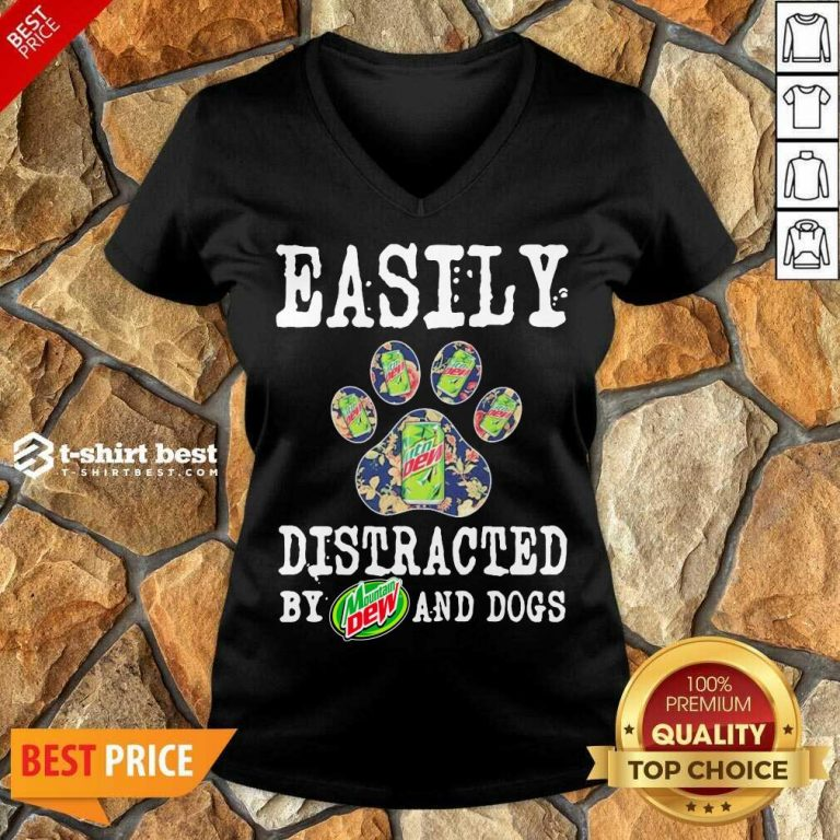 Easily Distracted By Mountain Dew And Dogs V-neck - Design By 1tees.com