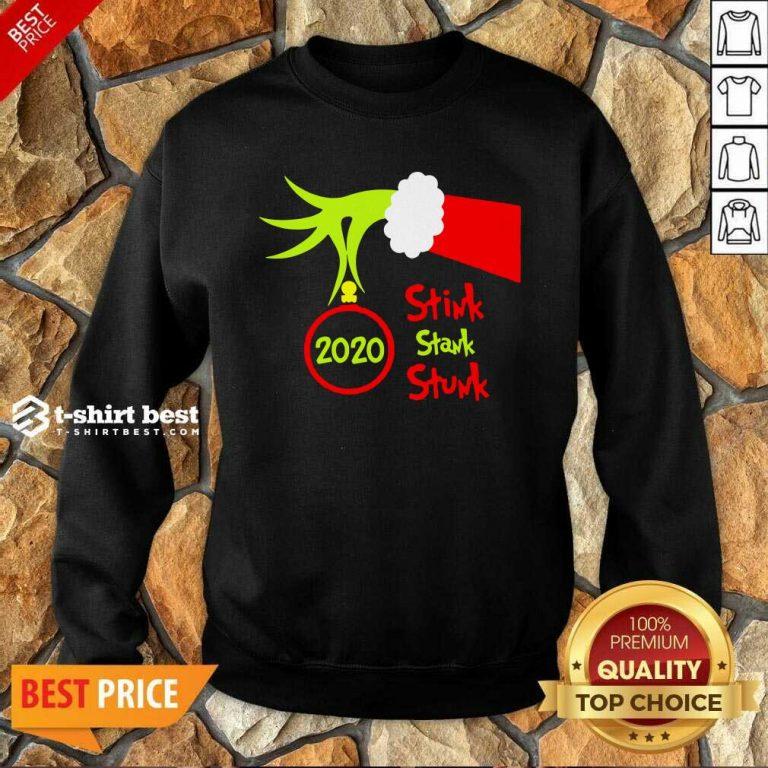 Grinch Hand Holding 2020 Stink Stank Stunk Sweatshirt - Design By 1tees.com