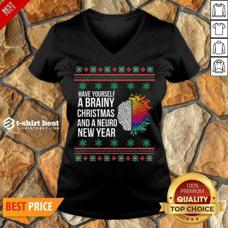 Have Yourself A Brainy Christmas And A Neuro New Year Ugly Christmas Sweater Funny Xmas Gift V-neck - Design By 1tees.com