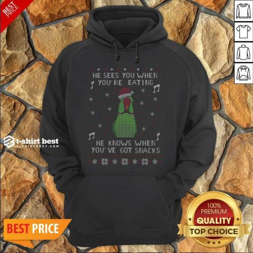 He Sees You When You're Eating He Knows When You've Got Snacks Ugly Christmas Hoodie - Design By 1tees.com