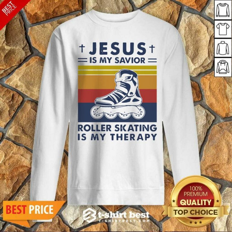 Jesus Is My Savior Roller Skating Is My Therapy Vintage Sweatshirt - Design By 1tees.com