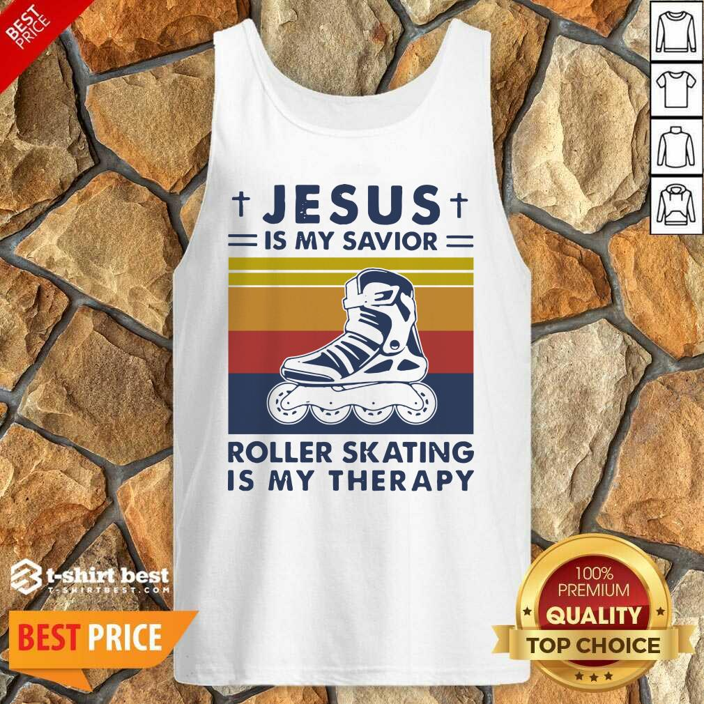 Jesus Is My Savior Roller Skating Is My Therapy Vintage Tank Top - Design By 1tees.com