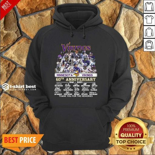 Minnesota Vikings 60th Anniversary Thank You For The Memories Signatures Hoodie - Design By 1tees.com