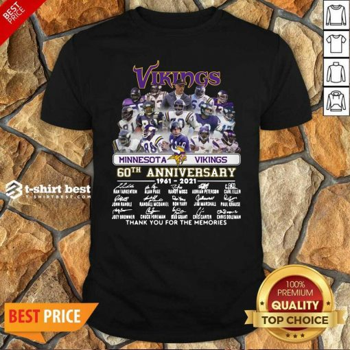 Minnesota Vikings 60th Anniversary Thank You For The Memories Signatures Shirt - Design By 1tees.com
