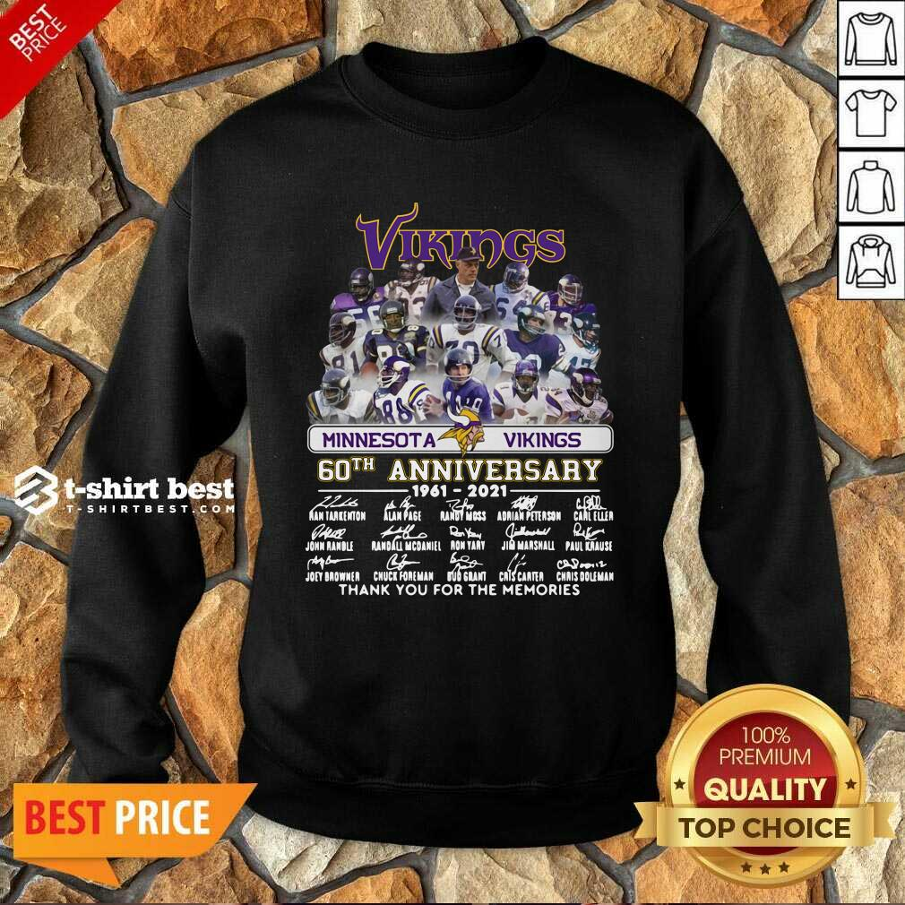 Minnesota Vikings 60th Anniversary Thank You For The Memories Signatures Sweatshirt - Design By 1tees.com