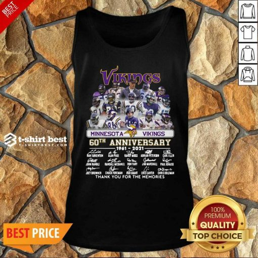 Minnesota Vikings 60th Anniversary Thank You For The Memories Signatures Tank Top - Design By 1tees.com