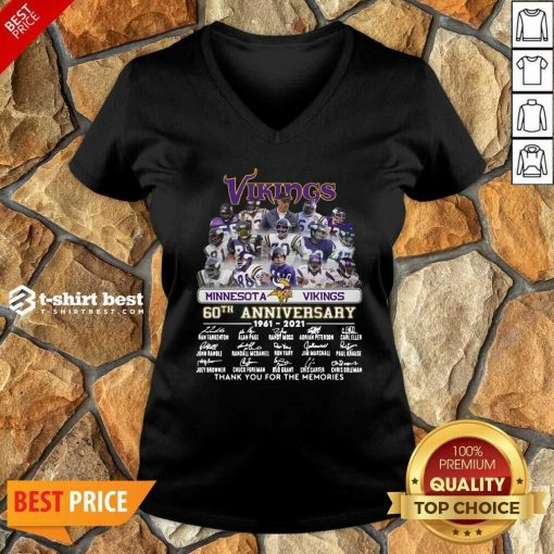 Minnesota Vikings 60th Anniversary Thank You For The Memories Signatures V-neck - Design By 1tees.com