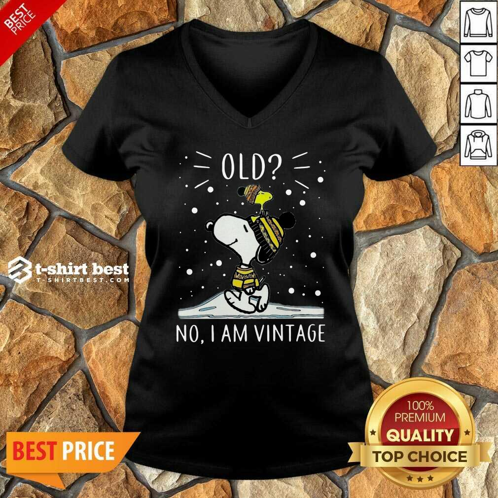 Snoopy And Woodstock Old No I Am Vintage V-neck - Design By 1tees.com