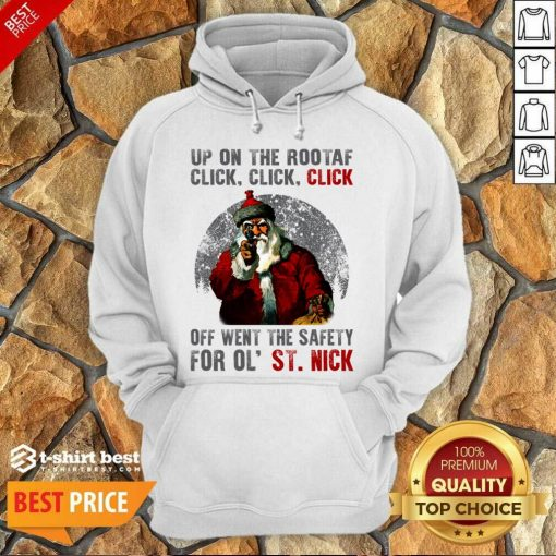 Up On The Rooftop Funny Santa Claus Hoodie - Design By 1tees.com