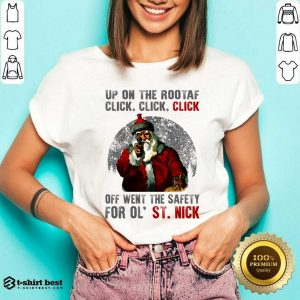 Up On The Rooftop Funny Santa Claus V-neck - Design By 1tees.com