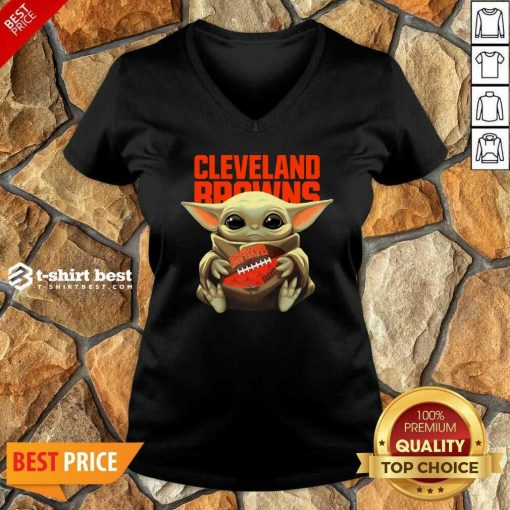 Baby Yoda Hug Rugby Cleveland Browns V-neck - Design By 1tees.com