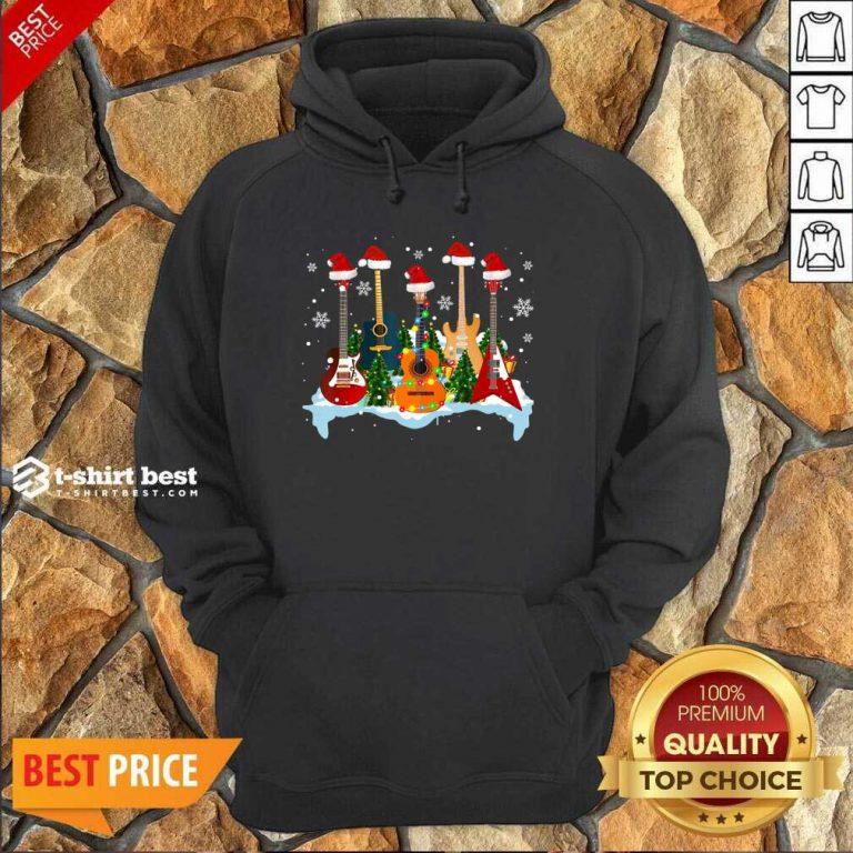 Guitar Hat Santa Merry Christmas 2020 Hoodie - Design By 1tees.com