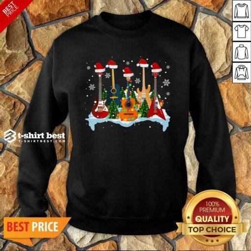 Guitar Hat Santa Merry Christmas 2020 Sweatshirt - Design By 1tees.com