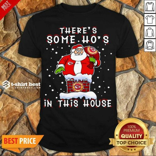 Official Kansas City Chiefs Christmas There Is Some Hos In This House Santa Stuck In The Chimney NFL Youth Shirt - Design By 1tees.com